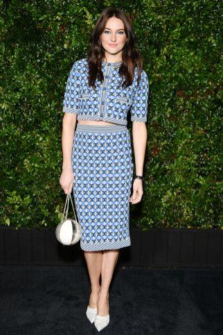 Shailene Woodley in Chanel alla Chanel and Charles Finch Pre-Oscar Awards dinner.