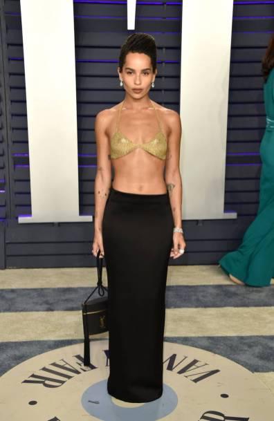Zoe Kravitz con top Tiffany & Co e gonna Saint Laurent al Vanity Fair Oscar after party, LA