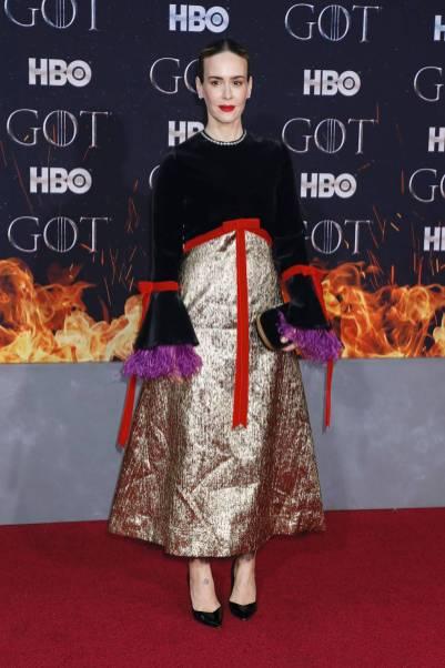 Sarah Paulson in Gucci alla 'Game of Thrones' Season 8 Premiere, New York