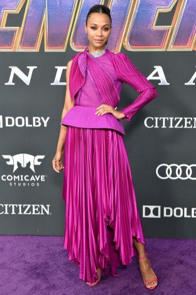 Zoe Saldana in Givenchy Couture alla premiere of Avengers Endgame, LA