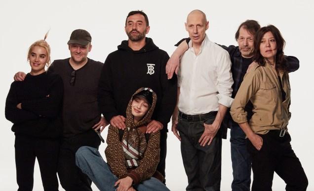 Isamaya Ffrench, Gary Gill, Riccardo Tisci, Nick Knight, Peter Saville, Katy England and Gigi Hadid on set of the Burberry Monogram campaign shoot