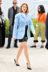 Lea Seydoux in Louis Vuitton Resort all'Oh Mercy Photocall al Cannes Film Festival Red Carpet 2019