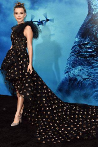Millie Bobby Brown in Oscar de la Renta, gioielli Cartier alla premiere of Godzilla King Of The Monsters