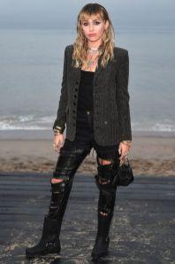 MIley Cyrus in Saint Laurent al Saint Laurent menswear show, LA