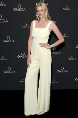 Lara Stone all'Omega 50th anniversary moon landing dinner, Television Centre, London