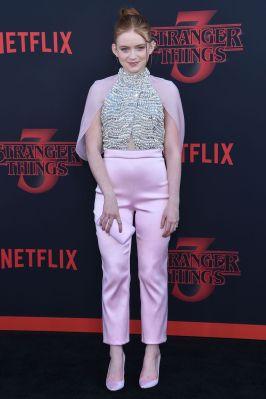 Sadie Sink in Prada alla premiere of Stranger Things season 3, California.