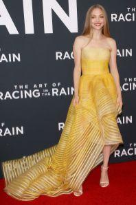 Amanda Seyfried in Oscar de la Renta alla premiere of The Art of Racing In The Rain, Los Angeles
