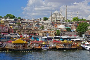 Colourful Istanbul from Bosphorus