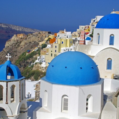 Oia Santorini Blue Domes and Colourful Buildings