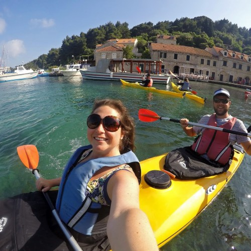 Couple Kayaking Elafiti Islands with Adriatic Kayak Tours
