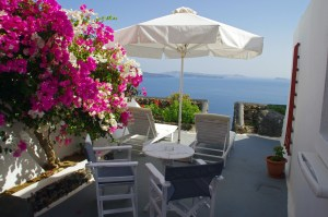 Nostos Apartments Santorini Balcony and View of Caldera