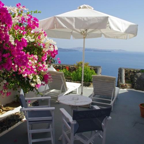 Nostos Apartments Santorini Balcony and View of Caldera
