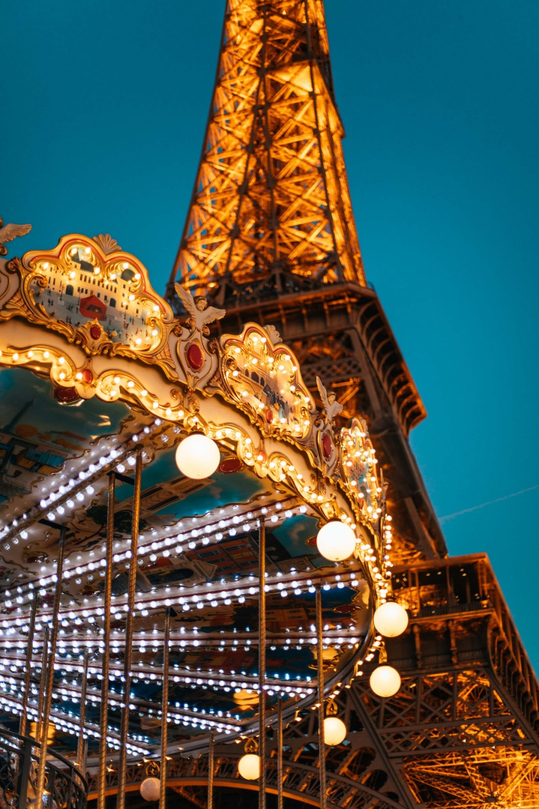 Eiffel Tower and Carousel Paris at night