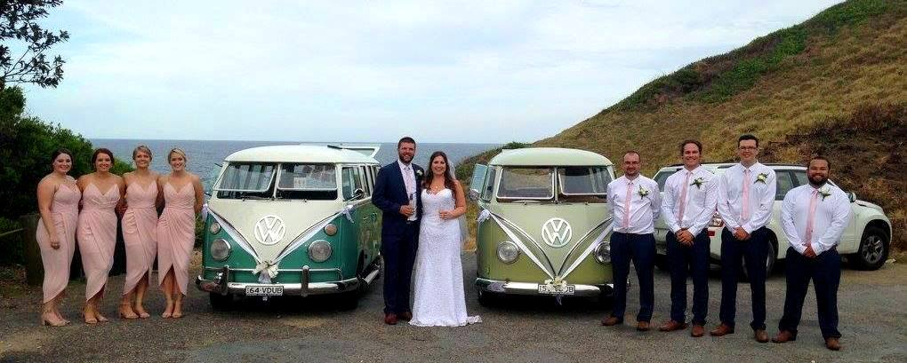 Bridal Party standing in front of VW Kombi Wedding Cars