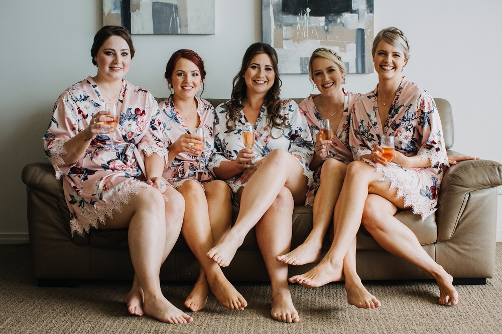 Bridal party in robes