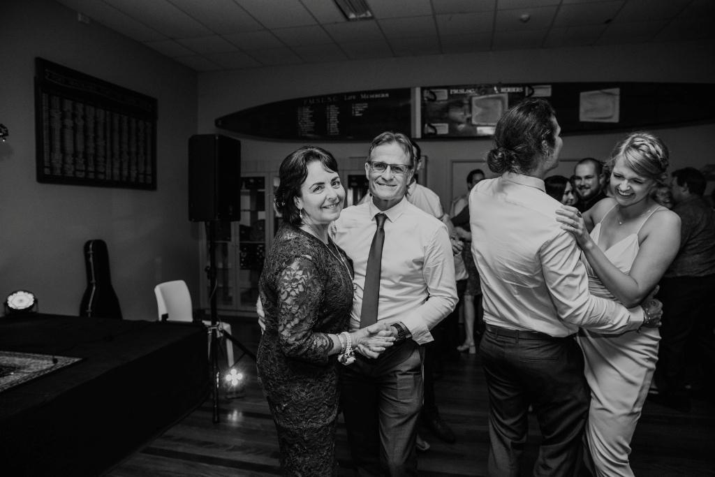 Bride's parents dancing at wedding
