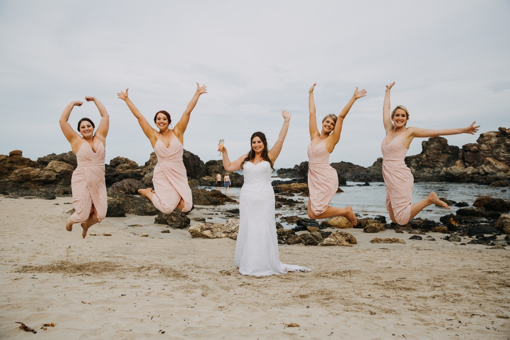 Bridesmaid jumping shot
