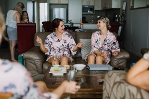 Bridesmaids relaxing in robes