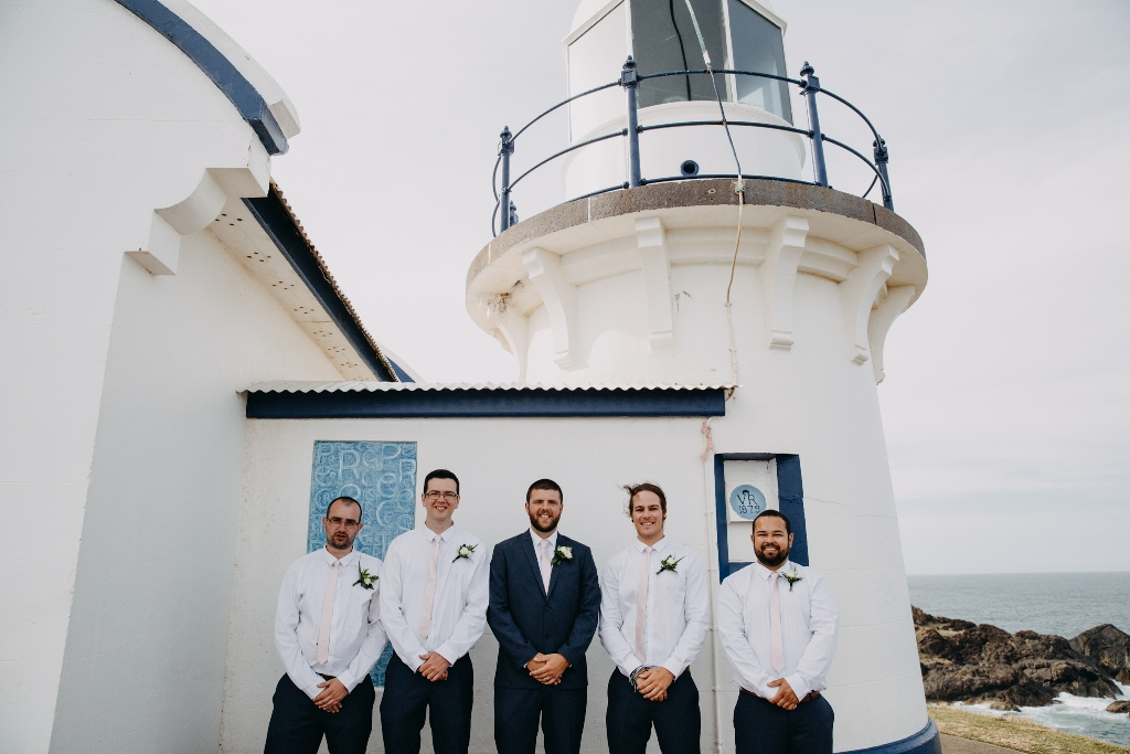 Groom and Groomsmen in front of Tacking Point Lighthouse