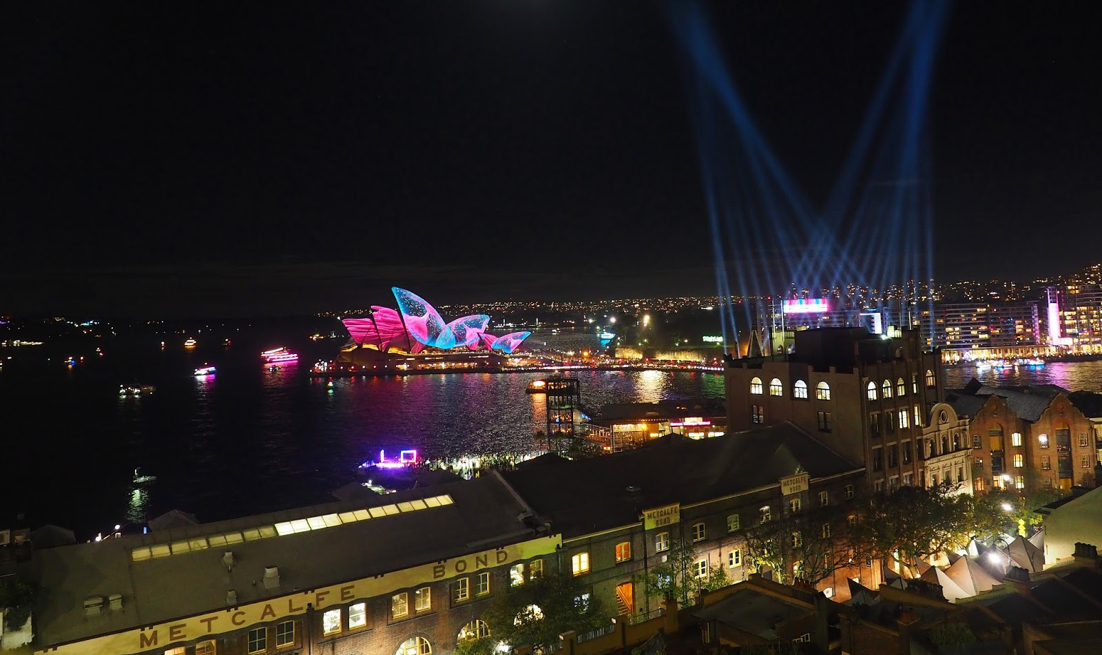 Sydney Vivid from Harbour Bridge