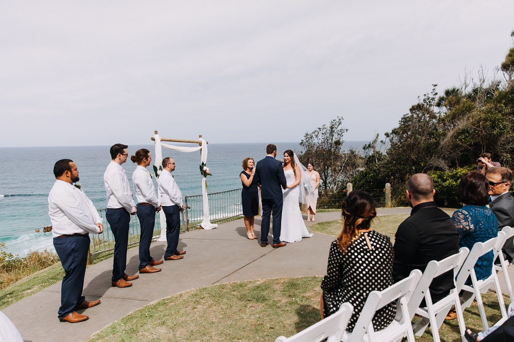 Wedding ceremony at Harry's Lookout Port Macquarie