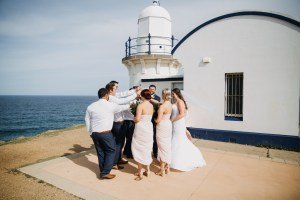 Wedding party celebrating at Tacking Point Lighthouse Port Macquarie