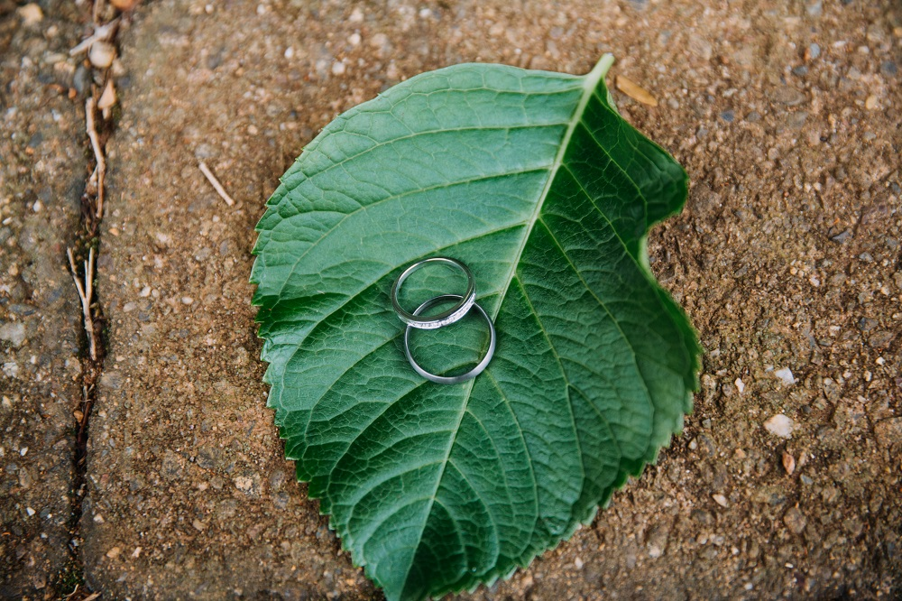 Wedding rings on leaf