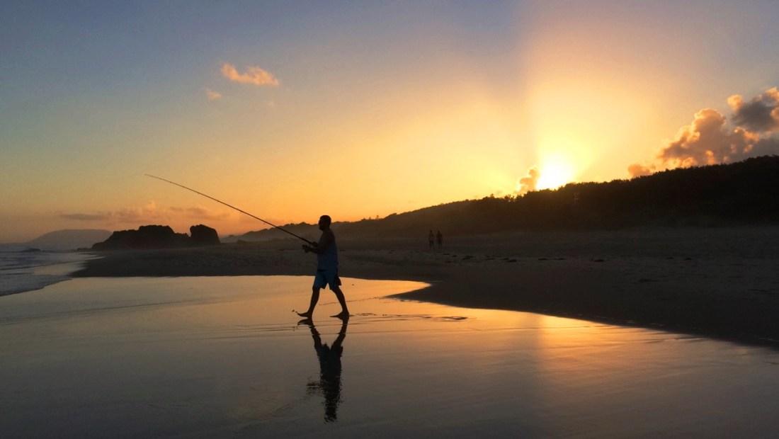 Dan fishing at Lighthouse beach