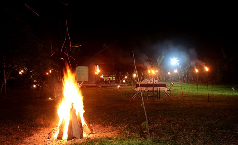 Night dinner and fire Master Campers Udawalawe