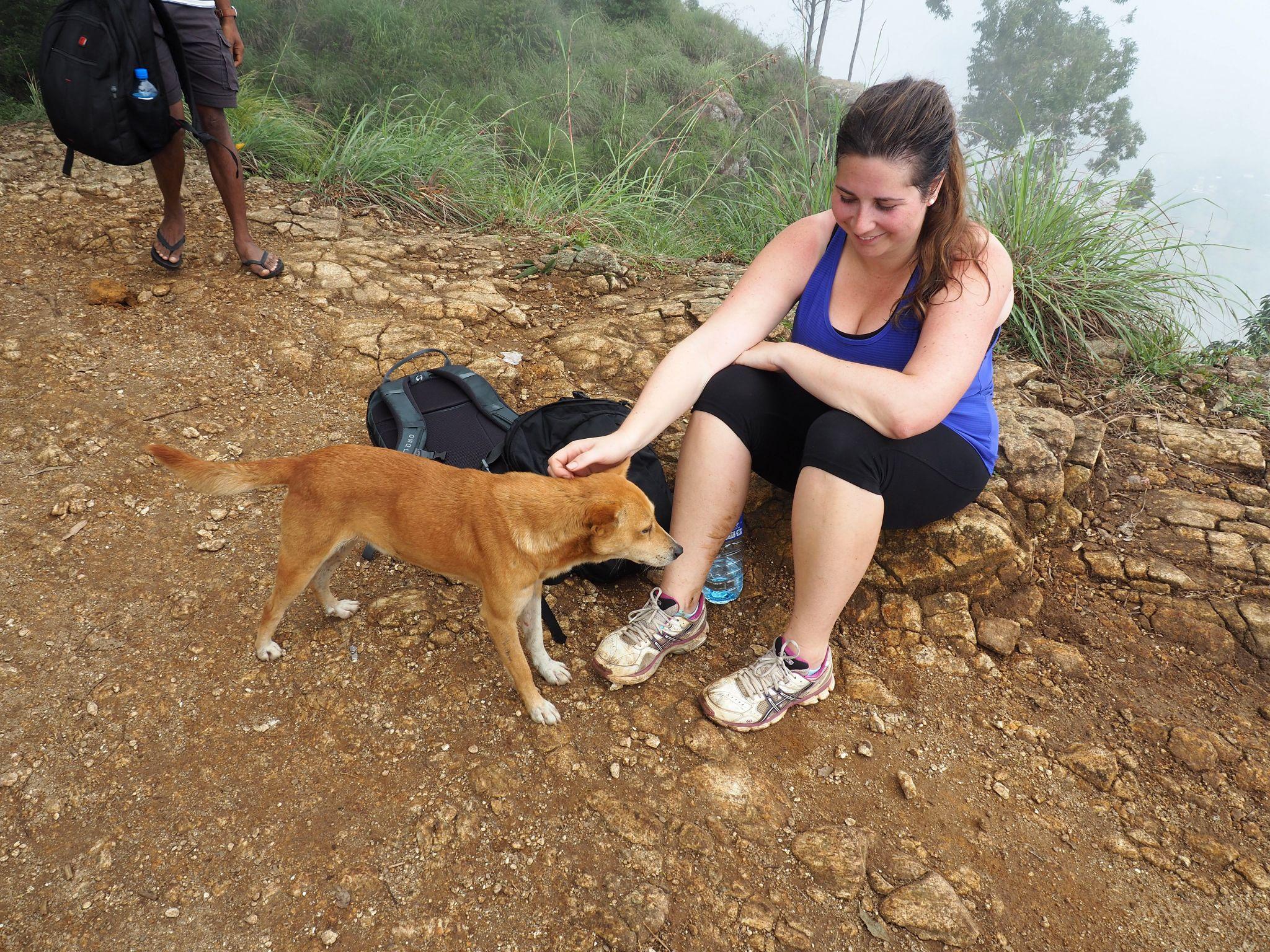 Girl with dog at top of Ella Rock