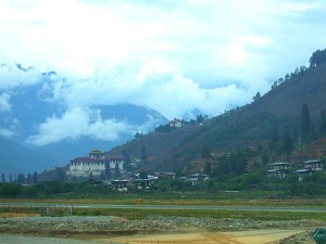 The runway at the beautiful Paro airport