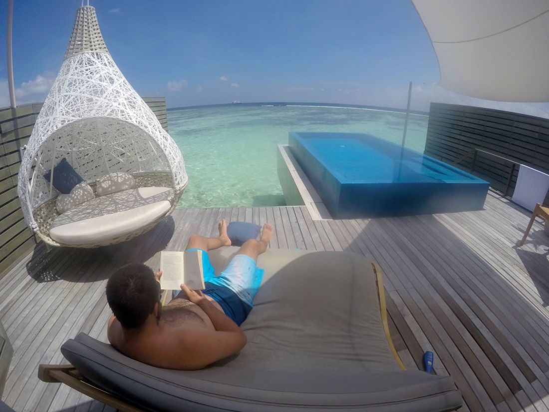 Enjoying overwater bungalow in LUX Maldives