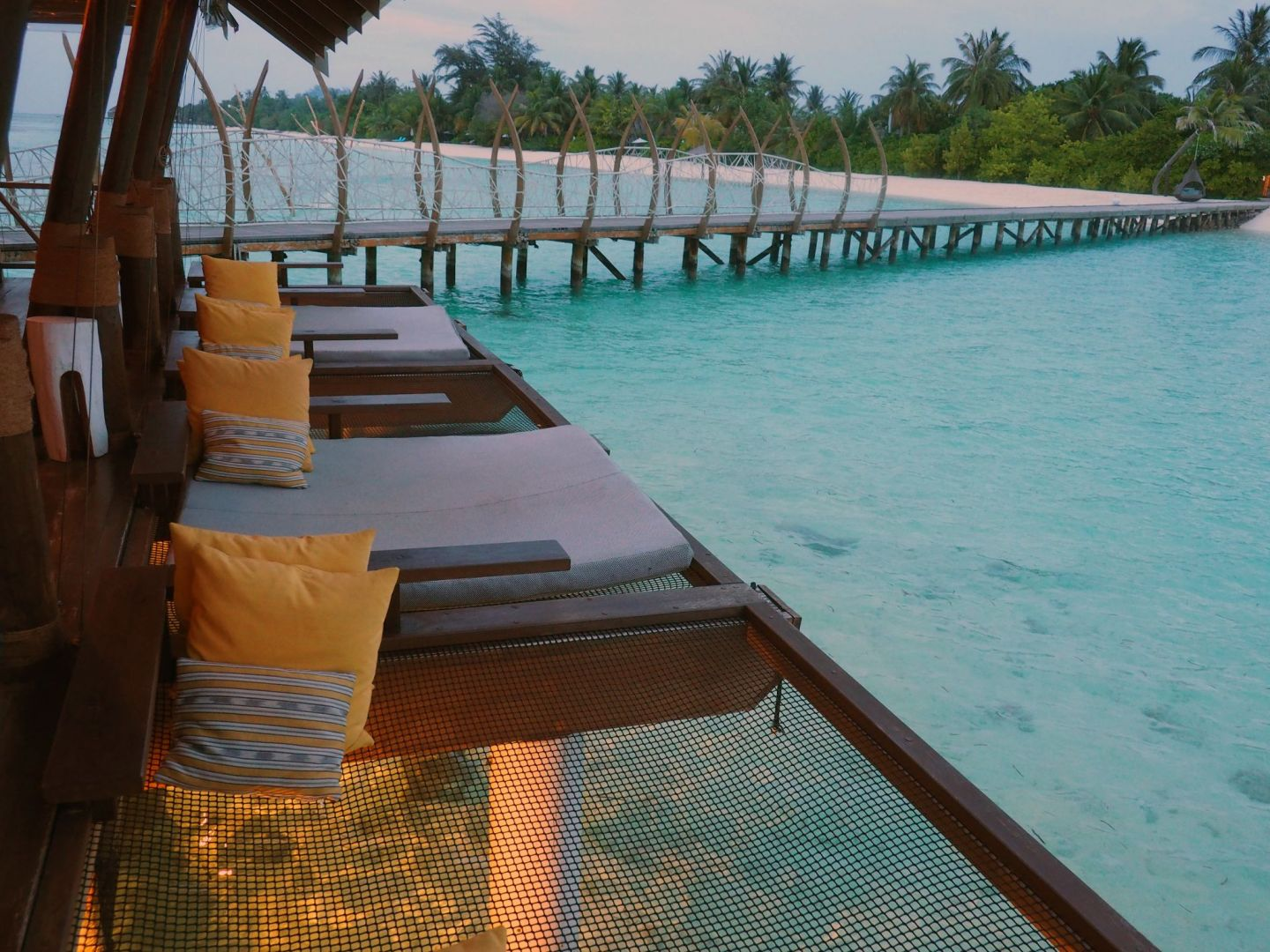 Nets over water at East Bar LUX Maldives