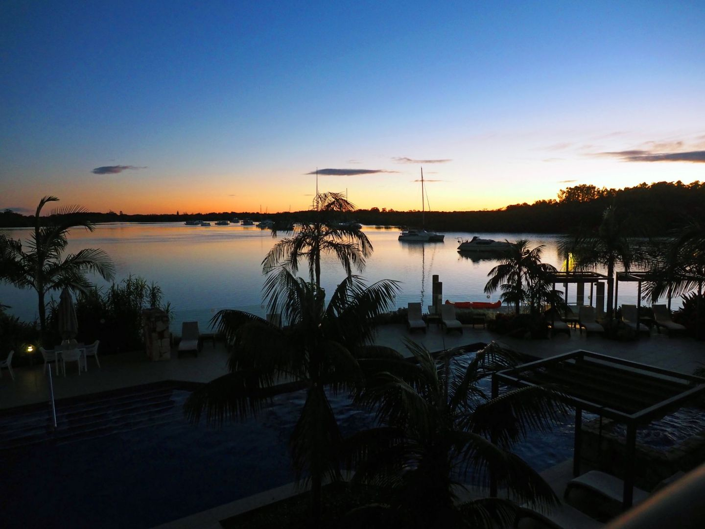 Dusk over pool at Sails Port Macquarie