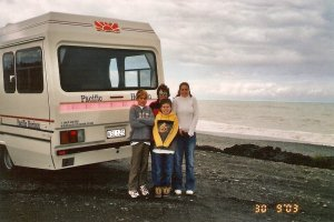 Family with New Zealand Campervan