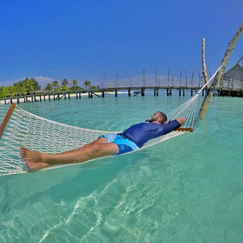 Dan relaxing in Hammock Maldives