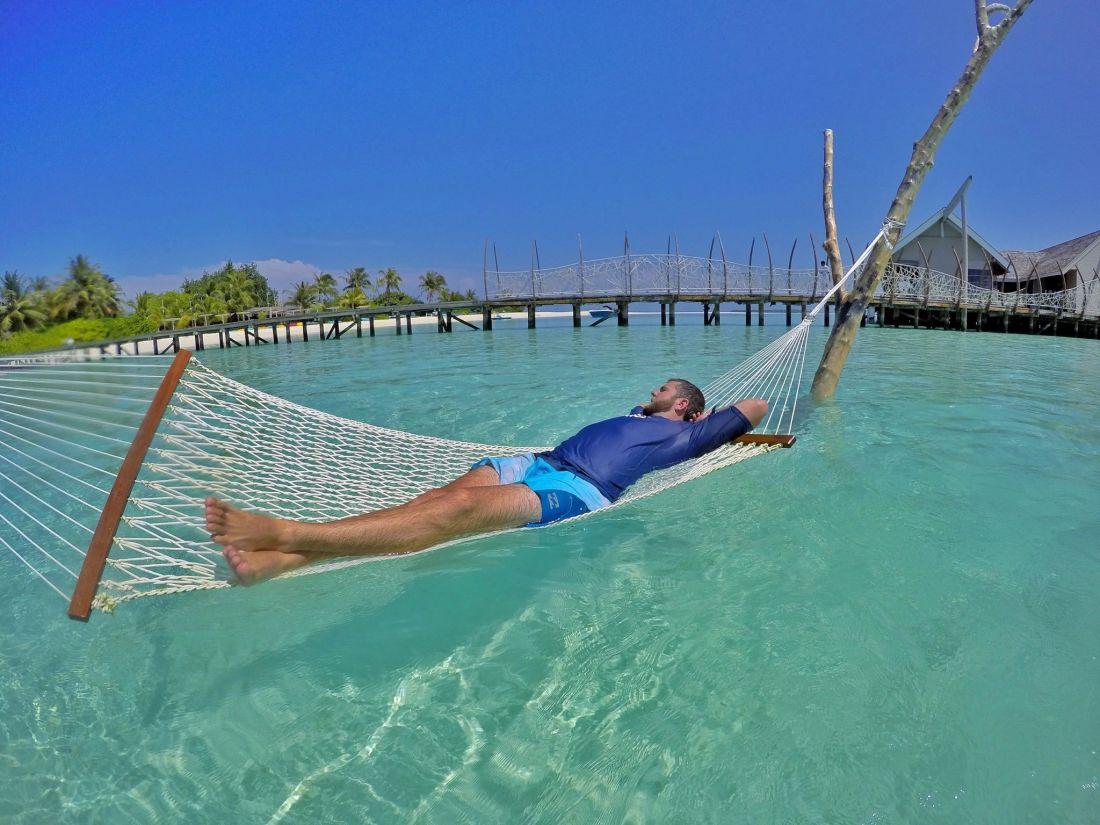 Dan relaxing in Hammock Maldives