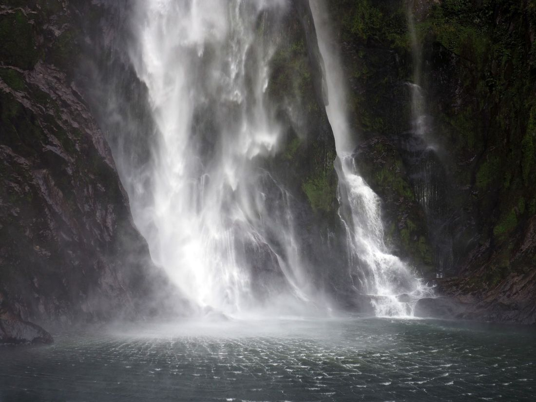 Close up waterfall Milford Sound