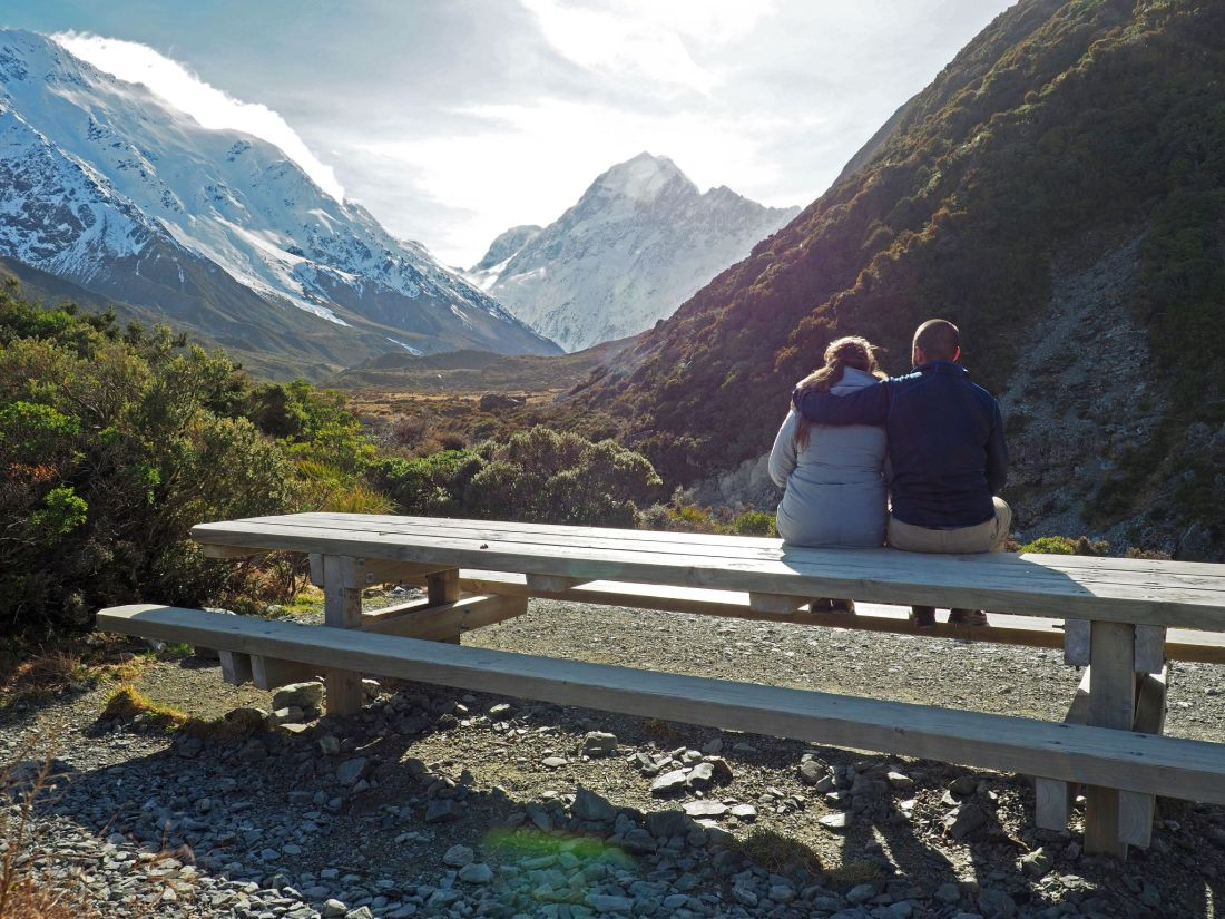Couple on Hooker Valley with Mount Cook in Distance
