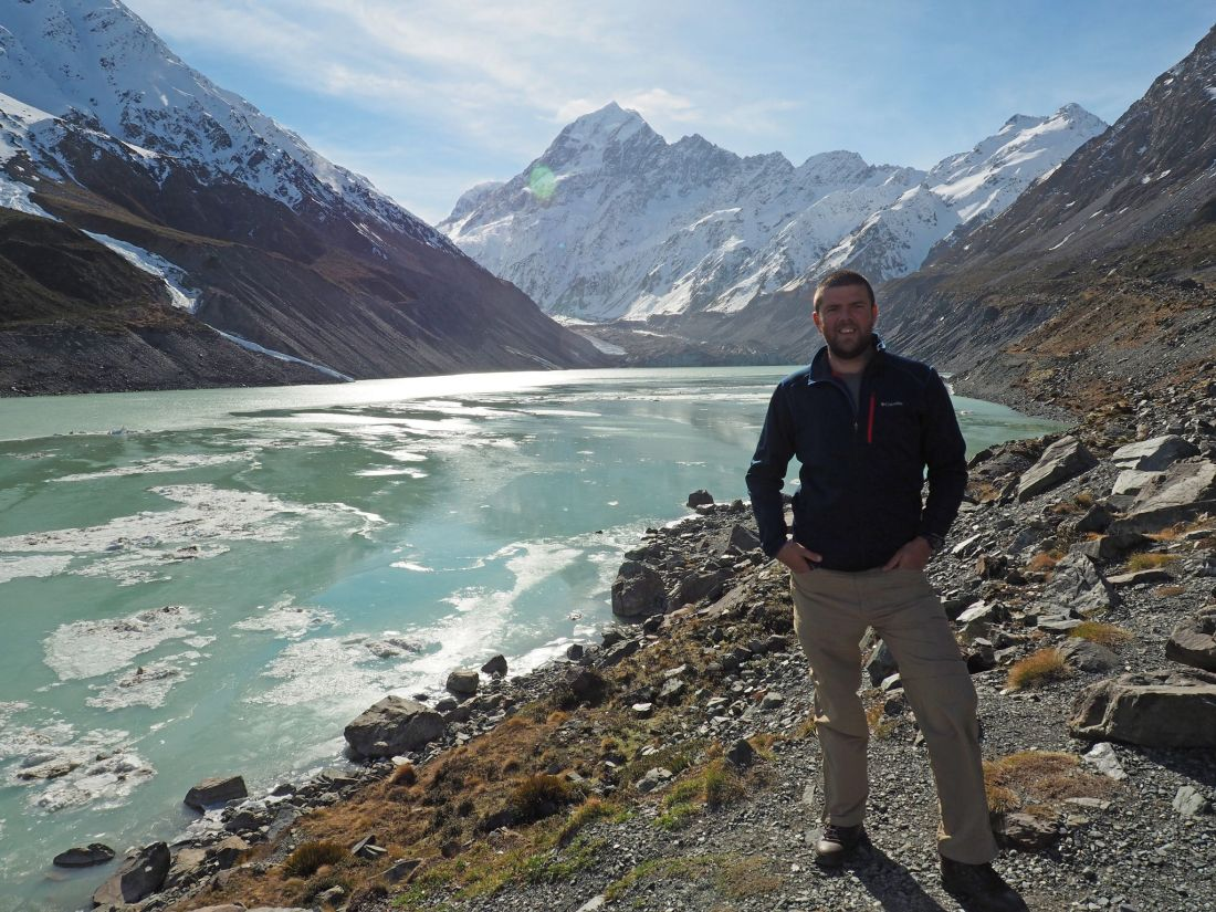 Dan at end of Hooker Valley Track