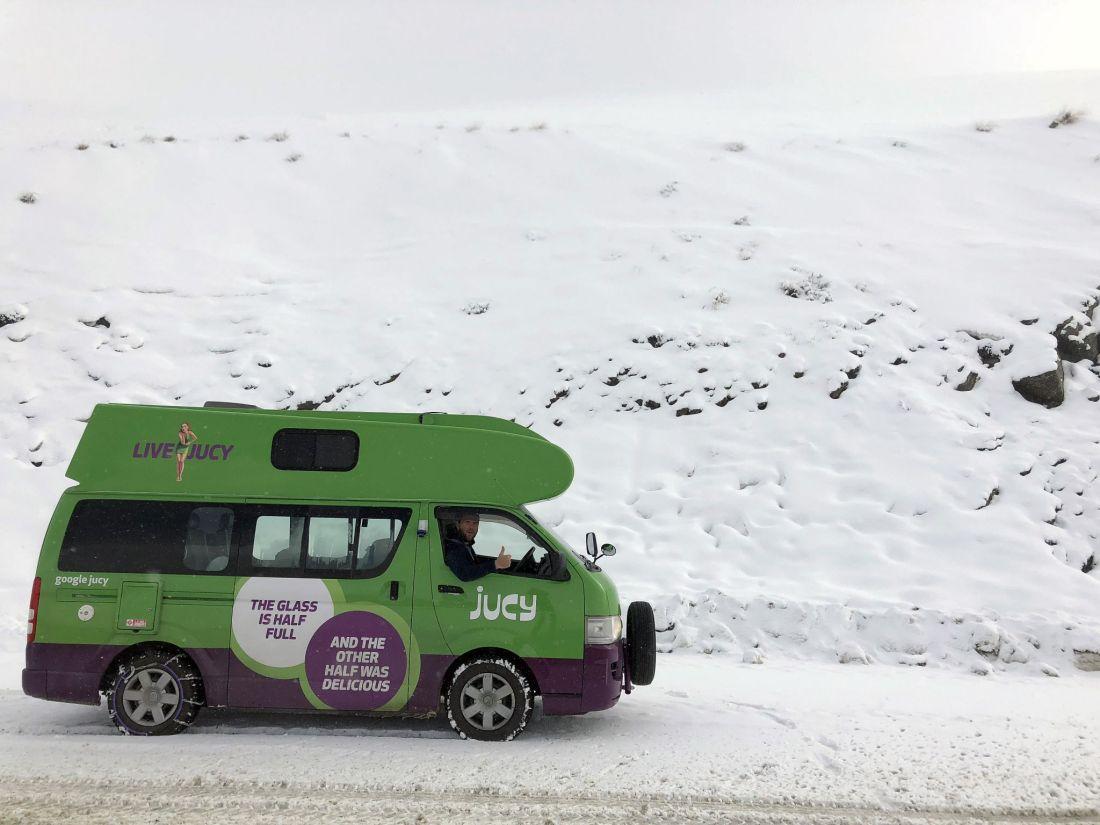 JUCY Van in snow Remarkables