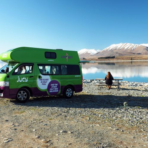 Simone at Lake Tekapo with JUCY Campervan