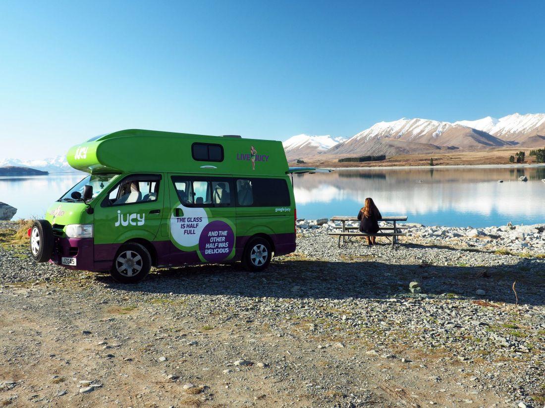 Simone at Lake Tekapo with JUCY Campervan