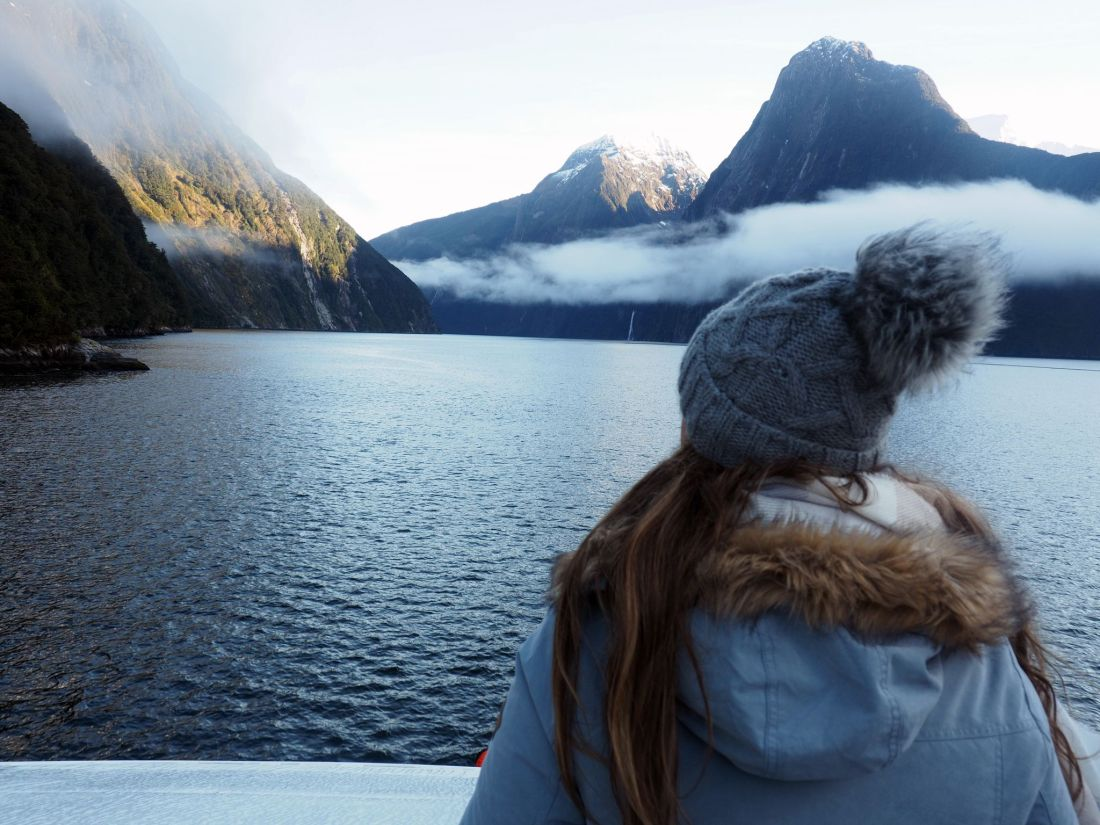 Simone overlooking Milford Sound