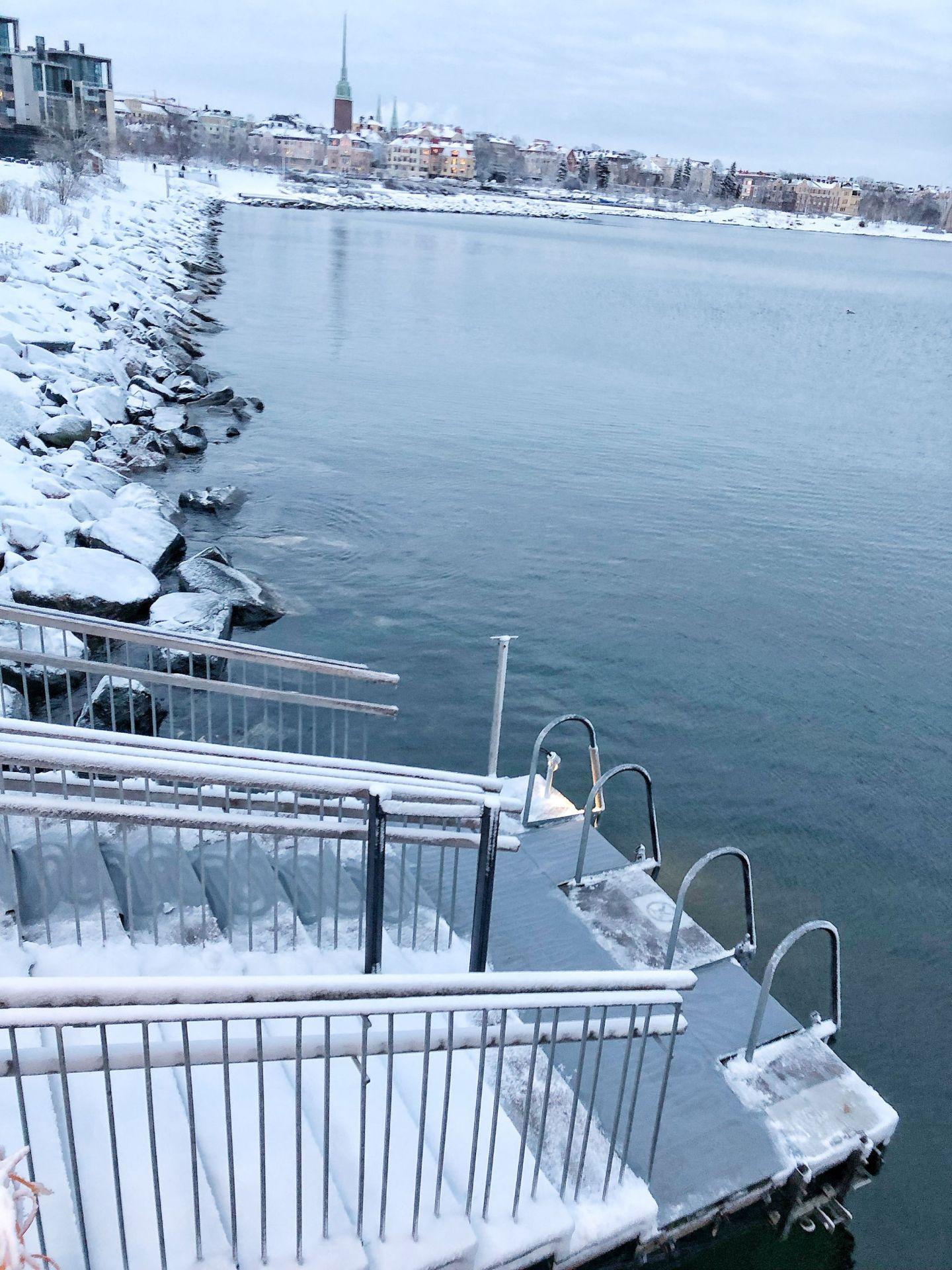 Steps into Baltic Sea in snow Helsinki