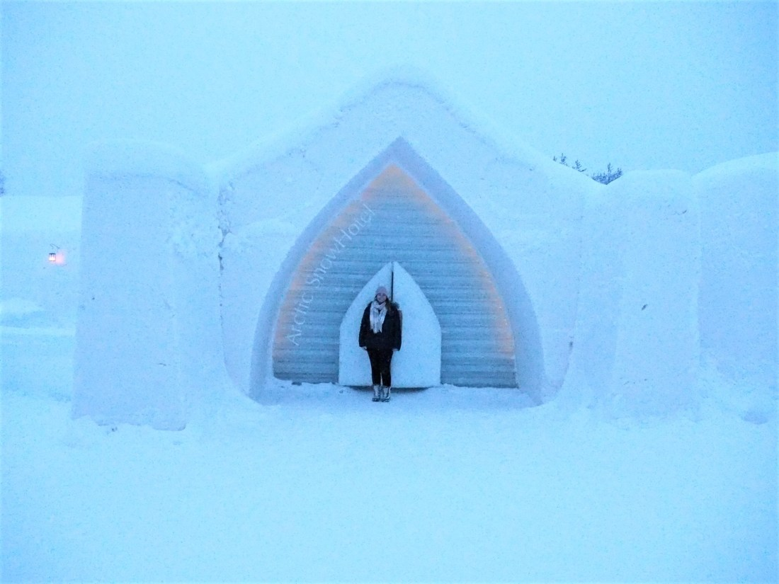 Simone at entrance to Arctic SnowHotel Rovaniemi