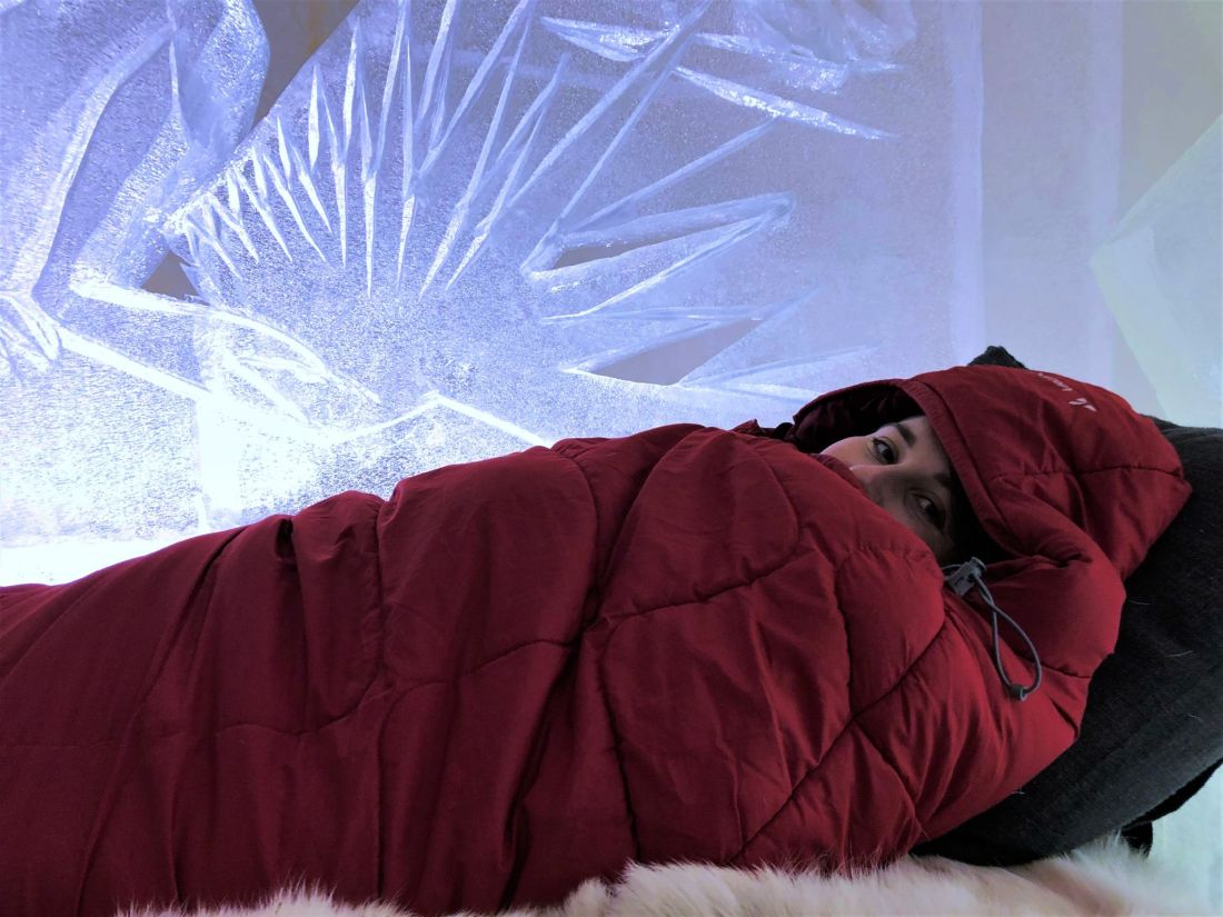 Simone in Sleeping Bag at Arctic SnowHotel Rovaniemi