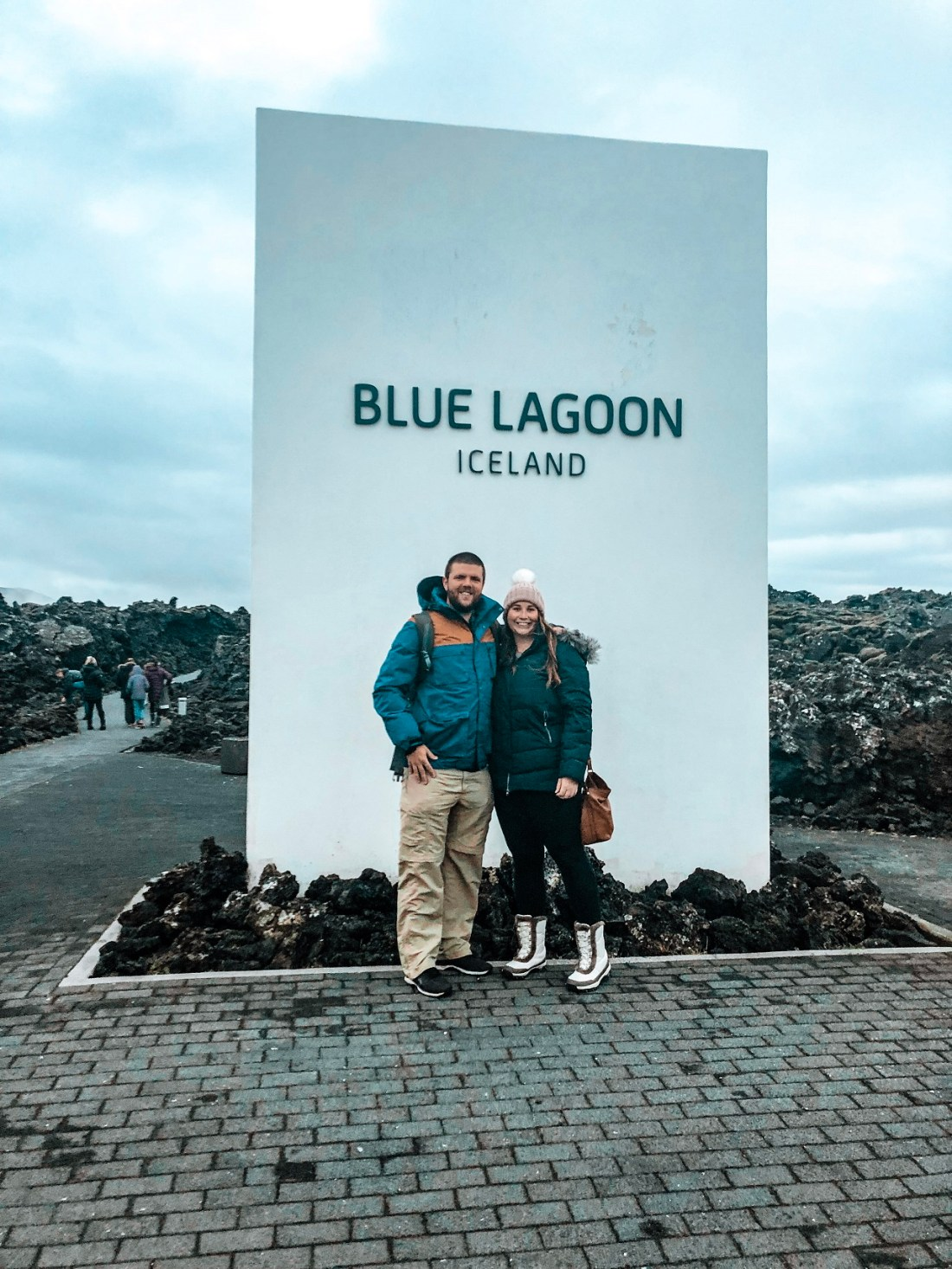 Simone and Dan with Blue Lagoon Sign