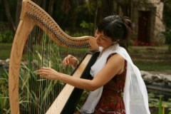 Andrea Cortez and harp - The Communal Healing Project - Amala