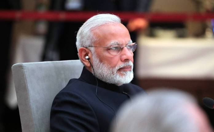 Prime Minister of India Narendra Modi at an informal meeting of heads of state and government of the BRICS countries Hamburg 2017